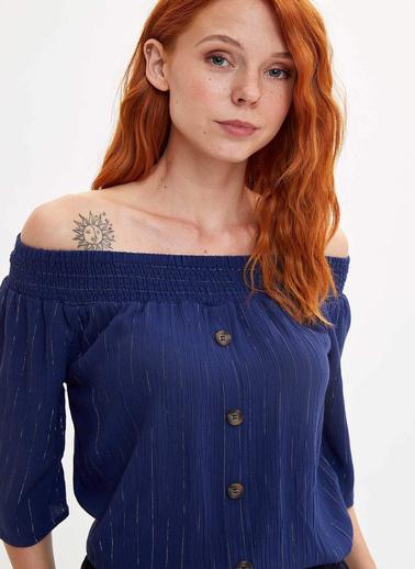DeFacto Çizgili Düğmeli Bluz Lacivert